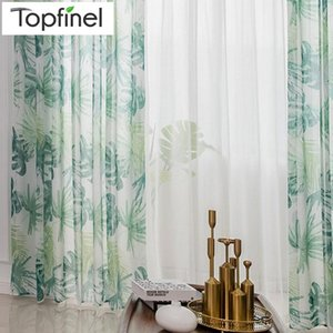 Curtain & Drapes Topfinel Green Leaves Sheer Curtains For Living Room Bedroom Plant Voile Tulle Kitchen Window Treatments Panel