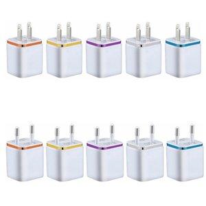 Dual USB-настенное зарядное устройство 5V 2.1A US US Plug Plug Adapter 2 порта Зарядные устройства для iPhone Samsung Huawei Сотовый телефон