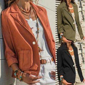 Slim Fit Casual Women Blazer 2021 Autumn Winter Buttons Office Jacket Solid Color Coat Ladies Outwear Women's Suits & Blazers