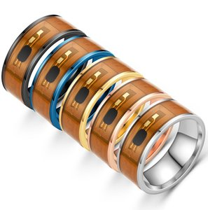 Mens Stainless Steel Dragon Rings Inlay Red Green Black Carbon Fiber Ring Wedding Band Jewelry