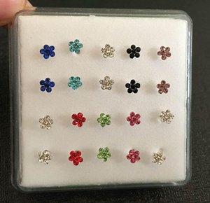 Flor Nariz Studs Body Jewelry Gems Flor Anillo Anillos De La Piedra Anillos De Piedra Y Tachas Piercing Joyería