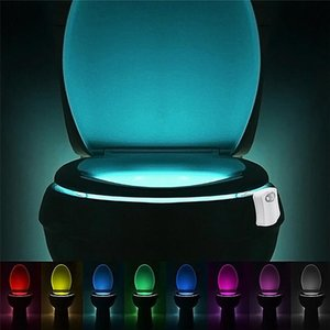 Night Lights Led Toilet PIR Motion Sensor Light WC Seat 8 Colors Changing Automatic Waterproof For Bathroom