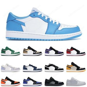 2021 Low 1 1s Shoes UNC university blue cactus black royal light smoke grey reverse bred easter paris men women Sneakers