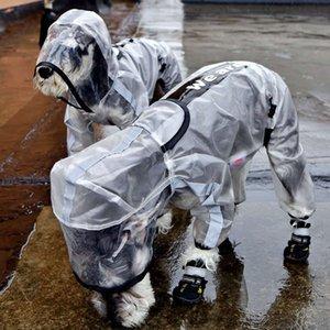 Cachorro Pet Raincoat Cachorrinho Quatro Pés Com Capuz Transparente Prova D 'Água Pequena Pequena Grande Chuva Out Roupas Para Animais