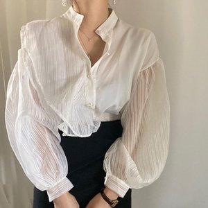 Women's Blouses & Shirts Chic Stand-up Collar Ladies Tops Lantern Sleeve Mesh Lace Elegant Women Patchwork Single-breasted Blusas 2021
