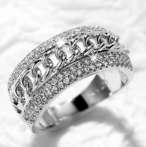 Hip Hop Wedding Rings Brand Vintage Jewelry 925 Sterling Silver Pave White Cubic Zircon CZ Diamond Promise Decompression Party Women Engagement Band Chain Ring
