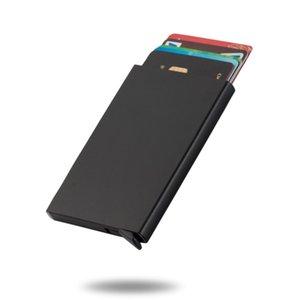 Aleación de aluminio automático de aleación de aluminio RFID anti robo de la tarjeta de crédito Cubierta de tarjeta de crédito nueva billetera de metal