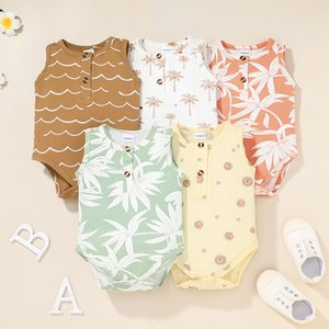 Baby Leaves Print Triangle Rompers Summer 2021 Kids Boutique Clothing 0-12 Newborn Infant Toddlers Cotton Crawl Onesies