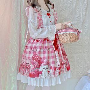 Japon kawaii rose lolita douce fraise sans manches Jsk mignon lapin doux lolita jsk robe filles princesse fête cosplay robe