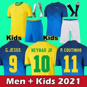 2021 adult+kids Brazi soccer jersey Neymar JESUS Militao Casemiro COUTINHO Camiseta Richarlison de futbol kit MARCELO football shirt