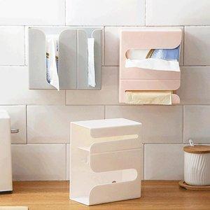Tissue Boxes & Napkins Wall Mounted Napkin Paper Towel Trash Bag Dispenser Storage Box Organizer