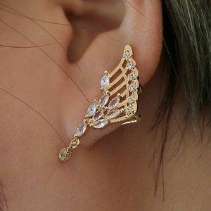 Hot Jewelry Supply Fashion Angel Wings Zircon Earrings Women Stud Earrings Without Pierced Clips Crystal Single Earrings
