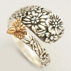 حلقات العنقودية العصرية مجوهرات زهرة النحل الدائري الرجعية الإبداعية تحوم الزهور ملعقة الذكور الإناث غلطاص الحيوان بوهو