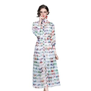 High-quality Dress 2021 Summer New Product Women's Temperament Stand-up Collar Fashion Print Long-sleeved Slim-fit Long-sleeved Dress SIZE M-2XL