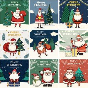 30-Packed Christmas greeting cards Cute cartoon santa snowman Blessing message postcard DWF11065
