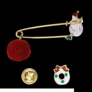 Enamel Christmas brooch pins fur ball snowman tree Brooches lapel pins corsage set fashion jewelry Christmas gift will and sandy new