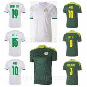 Senegal 2021-2022 Soccer 9 Famara DIEDHIOU Jerseys 20 Badou Diaee 26 Kalidou Koulibaly 10 Sadio Mane National Team Green White Football Kits