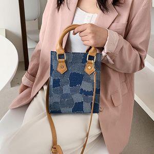 الدنيم المحمولة حقيبة صغيرة مربع العصرية بسيطة الكتف قطري المرأة أزياء حقيبة تسوق حقيبة تصميم مشبك قماش حقائب اليد