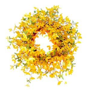 Forsythia Wreath Winter Jasminum Wreath for Rustic Spring Summer Farmhouse Front Door Wedding Party Home Wall Decor