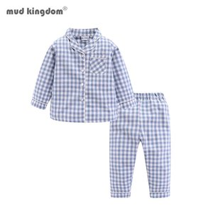 Mudkingdom Boys Girls Long Sleeve Pajamas Set Collared Plaid Autumn Cute Toddler Pajama Kids Sleepwear Children Clothes Pjs 210418