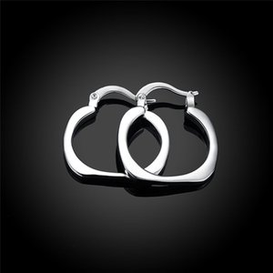 925 Sterling Silver Flat Square Round 20mm Hoop Earrings for Woman Wedding Engagement Fashion Party Charm Jewelry 1288 T2