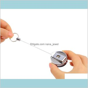 1Pc Stainless Steel Tool Belt Money Retractable Key Recoil Ring Pull Chain Clip Keychain Key Chain Drop Wholesale Scfde 0Zylp