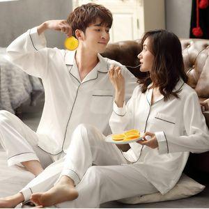 Solid Color Sleepwear Silk Satin Pajamas Couple Long Button-down Pyjamas Suit Pijama Women Men Loungewear Plus Size Pj Set
