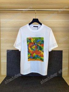21 ss Männer gedruckt T-shirts Designer Paris Dinosaurier Ölgemälde Brief Kleidung Kurzarm Herren Hemd Tag Weiß Schwarz 05