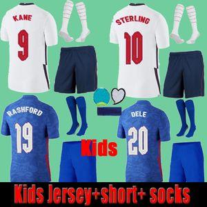 2021 Kids eNgLAND Soccer Jerseys Shorts Socks Full uniform Kits Set 20 21 Thailand Children KANE STERLING RASHFORD DELE LINGARD Football Shirts