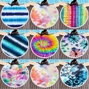 Microfiber Plus Tassel Round Beach Battel Battel Tower Cat Tie-Dye Series