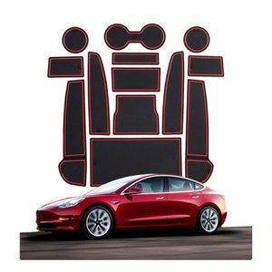 Per Tesla Modello 3 Automobile Interni Polvere Anti-slip Mat Accessori per l'immagazzinamento Porta Box Box Gate Slot Coaster