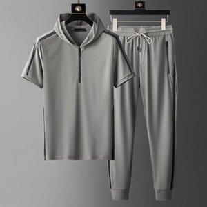 Hooded Herren Sets (T-Shirt + Hosen) Luxus Kurzarm Sommer dünn männlich Mode Slim Fit Sport Lässige Mann 5XL Herren Tracksuits