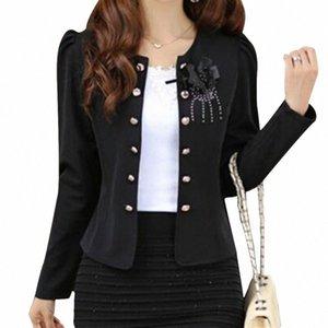 Mujeres de verano estilo ropa ropa exterior delgada mujer abrigo chaqueta femenina blazer negro l 47Jz #