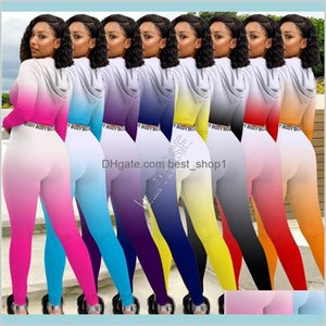 Women Bodysuit Tracksuit Color Gradient Sweat Suit Zipper Hooded Hoodies Long Sleeve Tops Pullover Legging Pants Jogging Outfits Baby Jq0Gv
