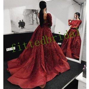 Luxury Beadings Crystals Sequined long sleeve Prom Dresses Lace Applique Backless Formal Dresses Evening Gowns Vestidos