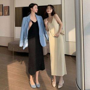 2021 Women's Autumn Basic Knitted Suspender Dress Medium Length with Thin Bottom Skirt