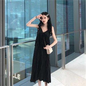 dress female French spring student Mori new white skirt medium length Fairy Dress Lace suspender 5GIV