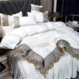 2021 white bedding sets cover lace edge queen bed comforters sets pillow cases luxury king size bedding sets home decoration 738 R2