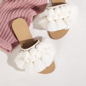 Female Shoes Flock Slippers Flat Fringe Luxury Slides Shose Women Winter Summer Designer PU Rubber Fabric Basic Woman 2021