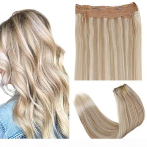 """Halo Human Hair with Seamless Transparent Wire and 2 Clips on Halo Extensions No Slip 10.5"""" Width Highlight Blonde Halo Hair"""