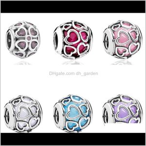 Loose Beads Jewelrysummer Authentic Fits For Pandora Bracelets Original 100Percent 925 Sterling Sier Bead Blue Encased In Love Charm 3 Color