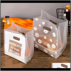 Envolver Evento Festivo Suministros Inicio Garden50PC Little Daisy Plastic Gift Storage Bolsas de compras con mango Navidad Boda Fiesta Favor
