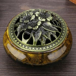 Sachet Bags TOPINCN Round Incense Burner Smoke Backflow Ceramic Glaze Censer Holder Home Decoration