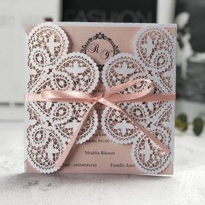 50 stücke Elfenbein Quadrat Laser geschnitten Hochzeitseinladungen Karten mit Band Spitze Ärmel für Quincenera Engagement Baby Dusche Geburtstagsgruß