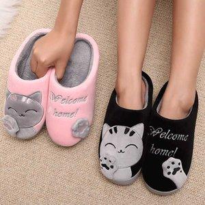 Женщины зимние домашние тапочки мультфильм кошка нескользящая тепловая крытая спальня пола обувь женщина плюшевые тапочки из искусственных меховых горки шлепки A0602