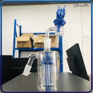 4.6 Inch Hookah Glass Pipe 6 arms tree ash catcher 45 degrees 14mm ashcatcher with Quartz Banger Carb Cap Dome for Smoking Bong