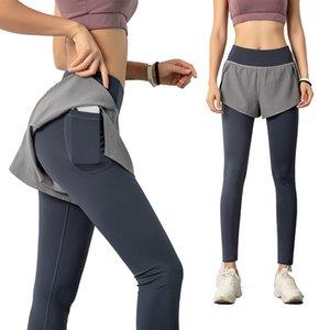 Simpold Sportwear Pantolon İki Katmanlar Gizli Yüksek Bel Yoga Legging ile Cep Elastik Fitness Tayt Jogging Spor ClothesSoccer Jersey