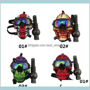 Silicone Gas Mask Bong Creative Skull Pattern Acrylic Water Pipe With Sun Glasses Dry Herb Smoking Oil Burner Multifunction Hookah Bvh Suwob