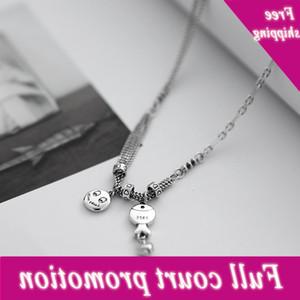 Anenjery 925 sterling visage souriant poisson Trui chaînage Thaï Silver Chaîne pour femmes hommes Vintage bijoux en gros S-N640