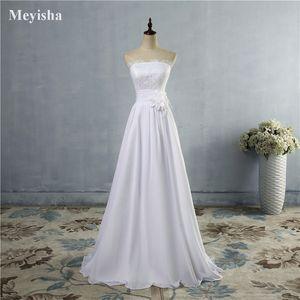 ZJ9016 해변 웨딩 드레스 2021 A 라인 사이드 우아한 레이스 아플리케 시폰 플러스 사이즈 드레스 꽃과 신부 가운을위한 드레스
